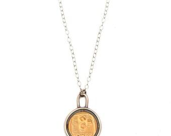 Pomegranate pendant, Pomegranate charm, Pomegranate necklace, Pomegranate jewelry, Old israeli coin, Pomegranate, , Israeli Coin pendant.