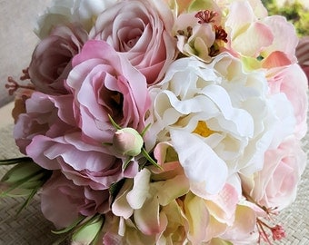 Summer Bouquet - Pink Peony Bridal Bouquet with  Roses, Hydrangea , Berries & Dusty Miller