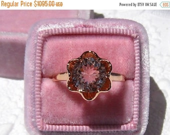 Prototype Sale 25%... Morganite Engagement Ring, Buttercup Rose Gold Engagement Ring
