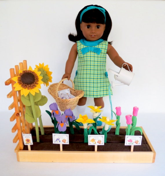 Doll GARDEN Handcrafted for 18 Inch dolls such as American Girl® Melody®   Raised bed garden, wool-blend felt flowers, accessories