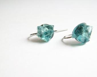 Blue Apatite raw earrings-raw apatite silver tone earring-raw gemstone earrings-blue gem silver dangle earring