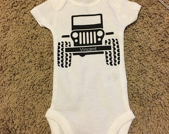 Baby Jeep personalized bodysuit, baby gift, boy or girl, jeep shirt