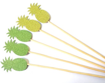 Set of 24Pcs - Double Sided Lime Glitter & Green Glitter Pineapple on 8inch Stir Stick OR 8inch Skewer
