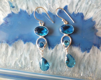 Blue Topaz and Sterling Silver Earrings 2 inches in length