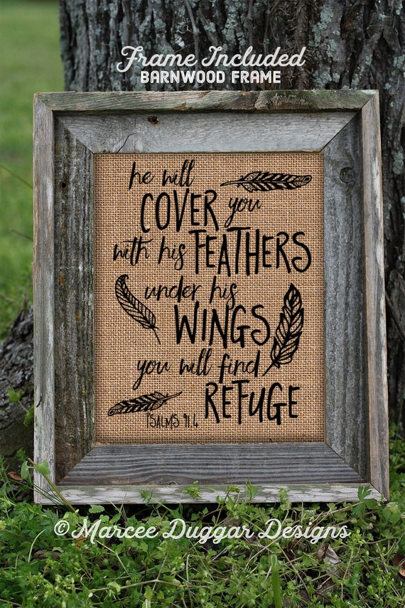 Framed Burlap Print | Gift for Mom | Cover You Feathers | Psalms | Scripture | Feathers | 131