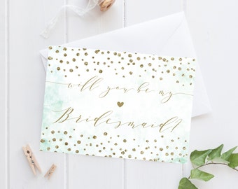 Will you be my bridesmaid card, Will you be my bridesmaid, Simple bridesmaid card, Gold, Confetti, bridesmaid