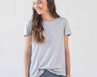 SALE! Organic Cotton Grey Tshirt - Geranium Tee