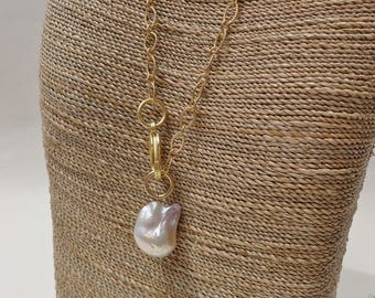 Large White Baroque Pearl and Gold Chain Necklace