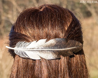 Leather feather hair clip barrette slide