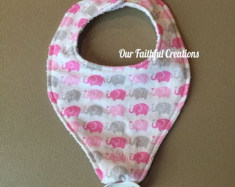 Elephant Pacifier Bib, Pink and Grey Elephant Bib, Binky Bib, Girl Bib, Pacifier Holder, Pacifier Clip, Drool Bib