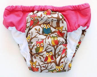 Girls overnight Heavy wetter training pants, Eco friendly cloth pull ups, waterproof owls PUL print, reusable absorbent panties