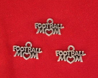 """5pc """"Football mom"""" charms in silver style (BC1168)"""
