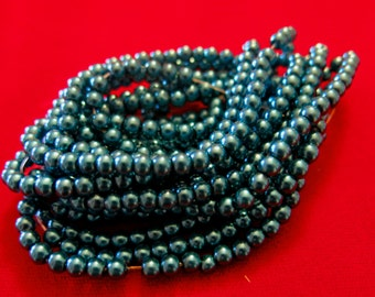 "200pc ""peacock blue"" imitation pearl spacer bead string (BC1193)"