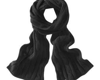 Soft black cable lambswool scarves. Knitted in Scotland