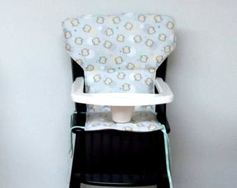 wood chair pad, highchair cushion, Eddie Bauer newport, safety first wood chair cover, high chair pad, baby furniture, monkey face on gray