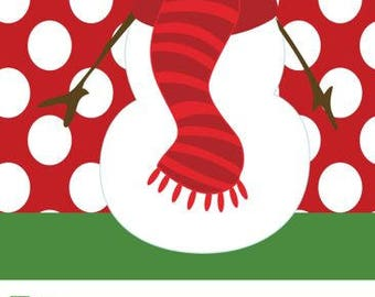 Red Polka Dot with Snowman Holiday Gift Tag