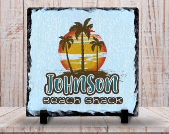 Slate Sign - Monogram Family Name Sign, Beach Shack Sign, Beach Decor, Beach Scene, - Home Decor, Custom Personalized Slate Plaque Gift