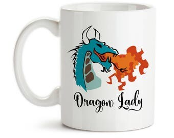 Coffee Mug, Dragon Lady, Dragon Fire, Dragon Design, Fire Breathing Dragon Before Coffee, Boss Lady, Gift Idea, Large Coffee Cup