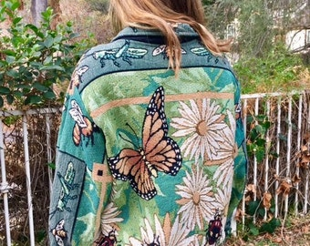 Tapestry coat, large, butterflies, ladybugs, daisies, bees, green, yellow, red, grasshoppers