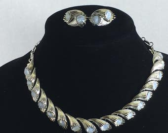 Vintage Signed Coro Rhinestone Necklace & Earring Set Silver Tone Frosted