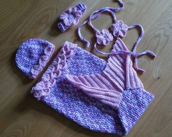 "Newborn Baby Crochet Mermaid Tail Blanket Cocoon Sleeping bag ""Liuxia"",0-3mths,Toddler,Preschool,Child,Teen,Ladies Pinks/Lavender,Hand Made"