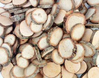 Small tree slices, disks, circles wood, branch, tree, slices, craft, supplies, wood, rustic, table decoration