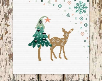 Christmas Fawn in the woods, cross stitch pattern, cross stitch christmas, christmas pattern, christmas, PDF pattern - instant download!