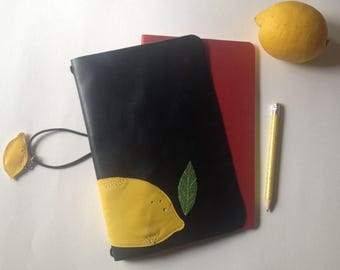 Lemon Travelers Notebook/Fauxdori/Planner/GIFT leather lemon charm!/Unique leather cover/Buying this cover you get two inserts for FREE!
