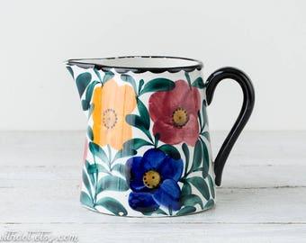 Vintage Flowered Pitcher - Ceramic Pitcher - Large Vase - Floral Pitcher