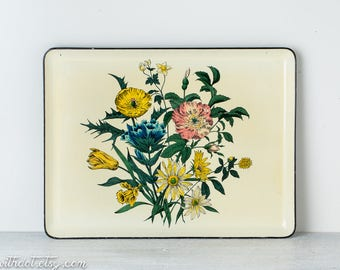 Vintage Floral Tray - Flowered Tray - Serving Tray - Ottoman Tray - Coffee Table Tray - Cocktail Tray