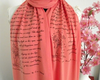 ANNA KARENINA Scarf Literary Scarf Book lover book Scarf Gifts scarf with text Anna Karenina literary gift quote scarf