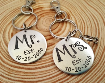 Couples Engraved Key Chains | Mr. & Mrs. | Wedding Date and Names engraved on the back | Newlyweds Key Chains