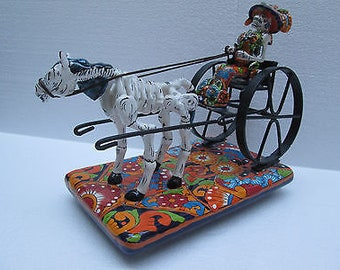 CATRINA ceramic hand painted carriage horse mexican folk art day of the dead 13""