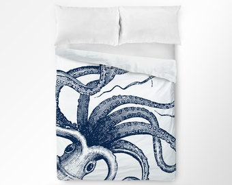 Octopus Duvet Cover, Octopus Bedding, Nautical Bedroom, Nautical Duvet Cover, Nautical Bedding, Kids Teen Bedding, King Queen Twin Duvet