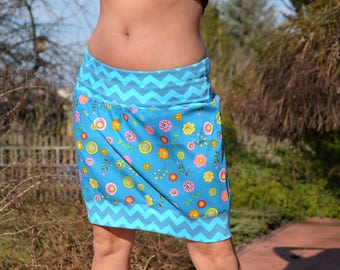 mini skirt, bubble skirt,blue,flowers