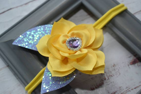 Yellow and lilac single flower elastic headband - Baby / Toddler / Girls / Kids Headband / Hairband / Hair bow / crown