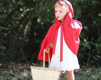 Girls Little Red Riding Hood Cape- ALL COLORS