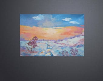 Picture Oil Landscape Painting Winter Evening Art Original