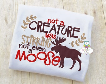 Not a Creature was stirring not even a moose Shirt or Bodysuit, Merry Christmas Shirt, Merry Christmas Y'all Shirt, Christmas Lights Shirt
