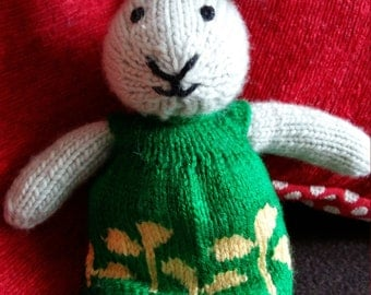 Hand Knitted Bunny called Rosie