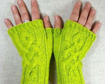 Fingerless Gloves with viking cables, lime green wool, mittens for women, cabled gloves