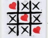 FREE SHIPPING Worldwide, Handmade Original Linocut Greeting Card, San Valentine card, tic tac toe, heart, love, gift for him