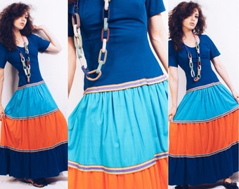 12.50 SALE Vintage 70s Colorblock Summer Dress / Boho Style / Festival Dress / Hippie / Prairie / Peasant / Size Small