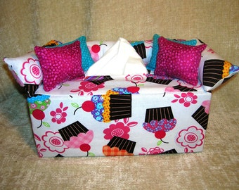 Fun Food and Drink Prints Tissue Box Covers- Hot Chocolate, Cupcakes, and Rainbow