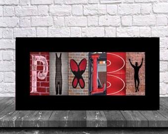 Letter Name Art Wrestling Print, Wrestling Print, Custom Name Art Wrestling Print, Custom Letter Art, Wrestling Room, Wrestling Mom, Coach