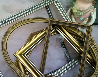 empty frames,empty frame set,open frame set,gallery frame set,farmhouse decor,gallery wall frames,antique frames,silver and gold frames