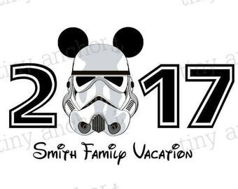 Printable Personalized 2017 Stormtrooper Mickey Family Vacation Iron On Transfer - DIY Disney Shirts, Family Vacation