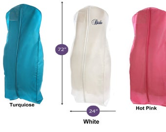 LARGE BREATHABLE, durable  bridal wedding gown garment bag, Bridesmaid, Formal Dress, Prom Dress- many beautiful colors