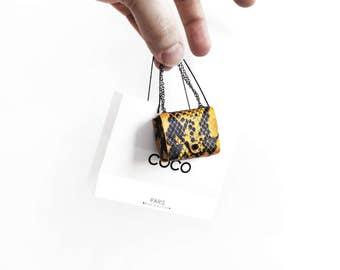 Coco Parisian yellow snakeskin handbag