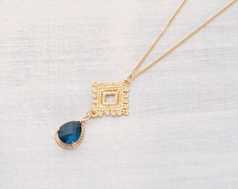 Necklace stone blue
